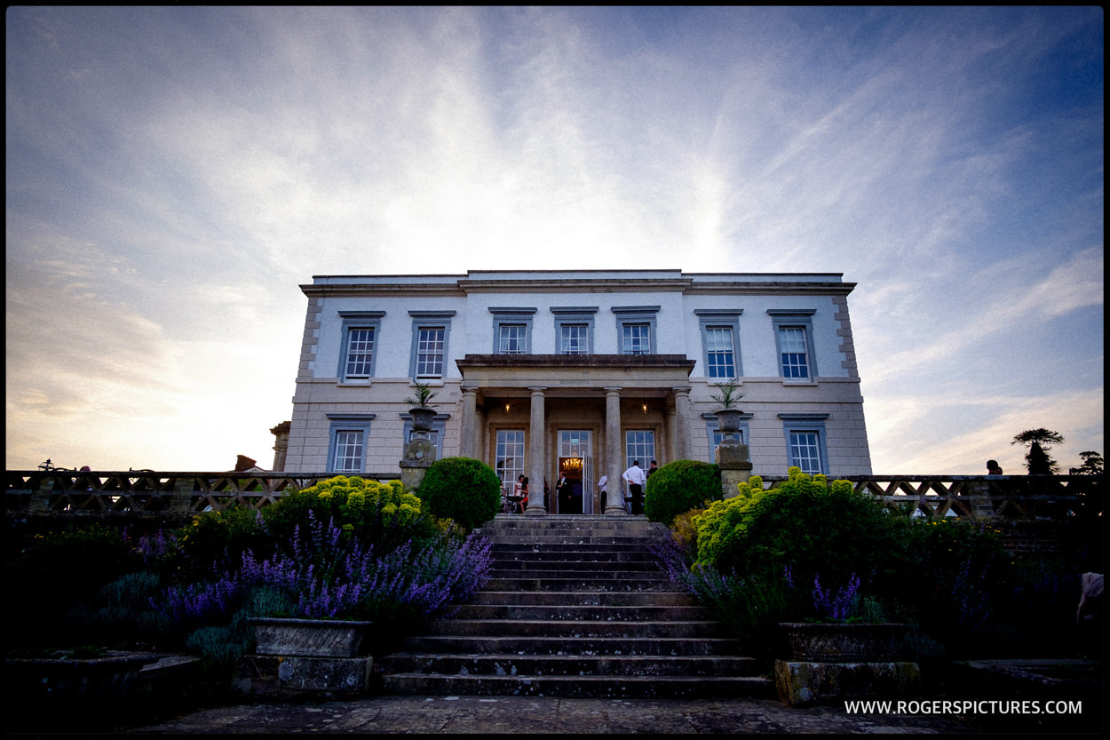 Buxted Park wedding venue in the evening
