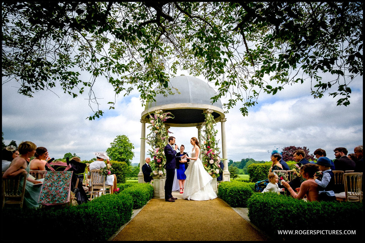 Outdoor wedding ceremony at Foyle Park in Hampshire