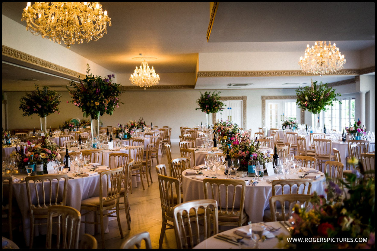 Wedding reception in the ballroom at Froyle park