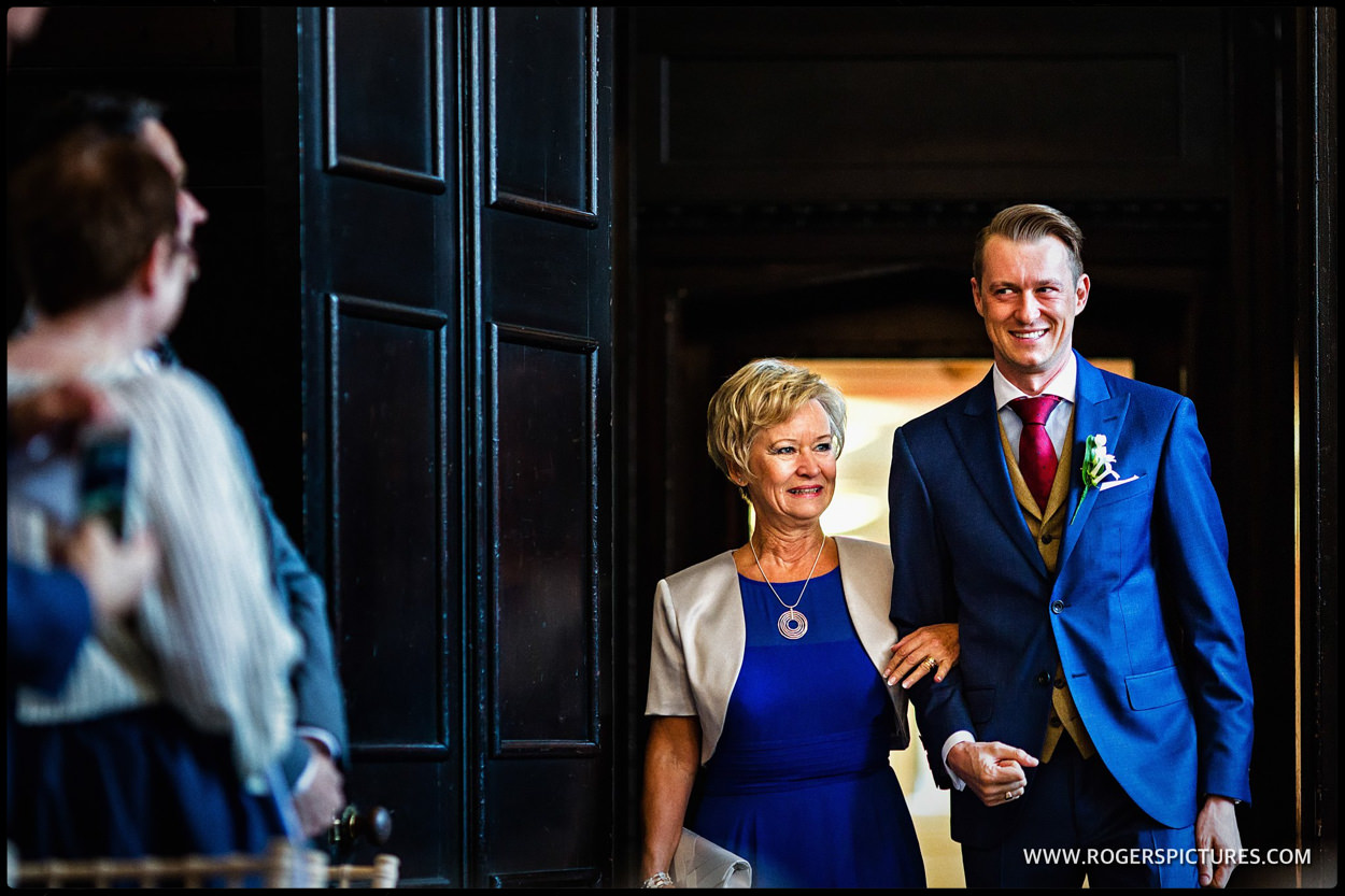 Groom arrives with his mother for same-sex wedding