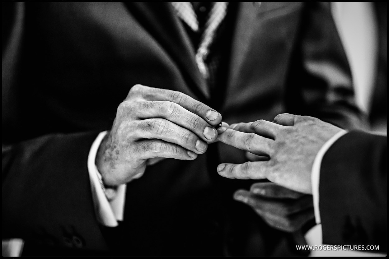 Close-up of wedding rings at same-sex marriage