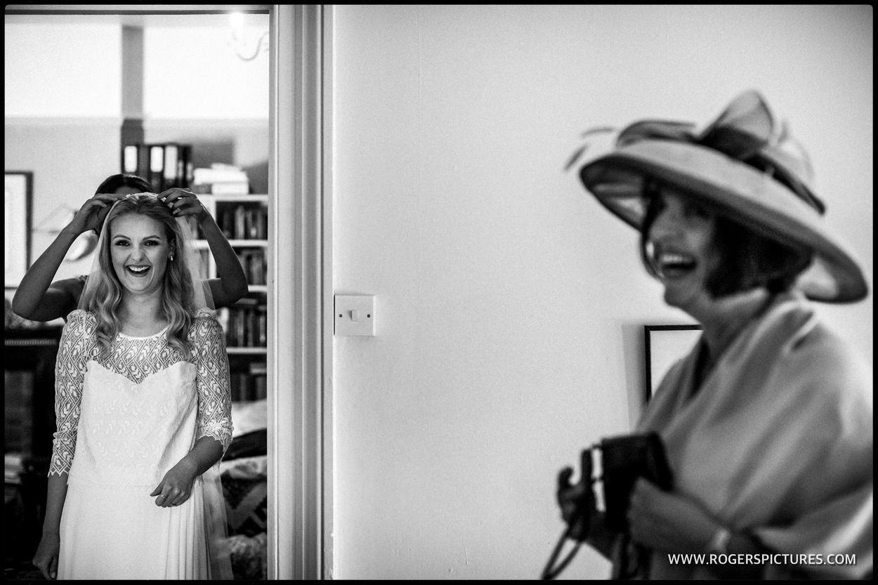 Mother and daughter wedding preparations in Dorset