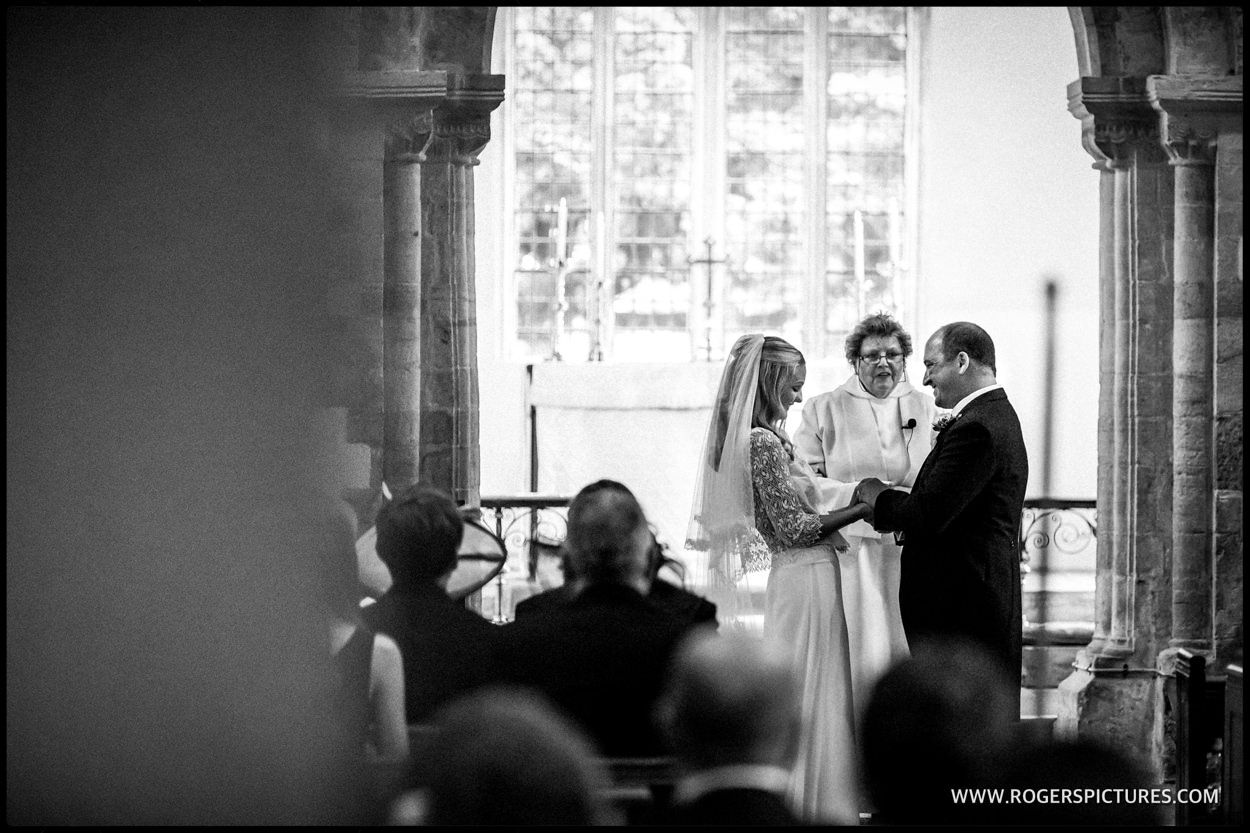 Bride and groom in church wedding in Dorchester