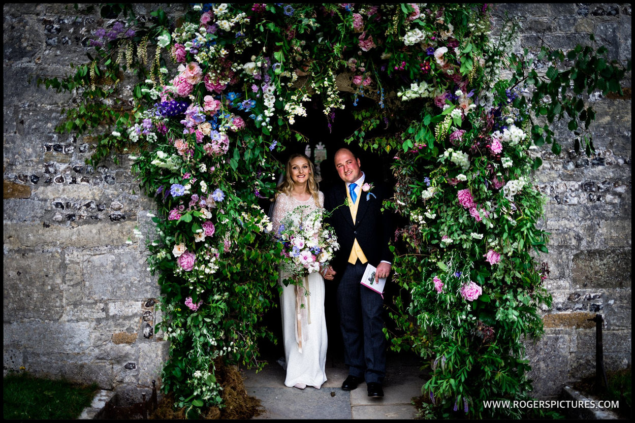 Bride and groom leave Dorset Church
