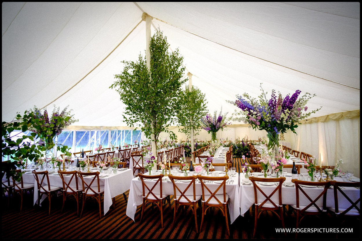 Jay Archer florist decorates Dorset marquee wedding