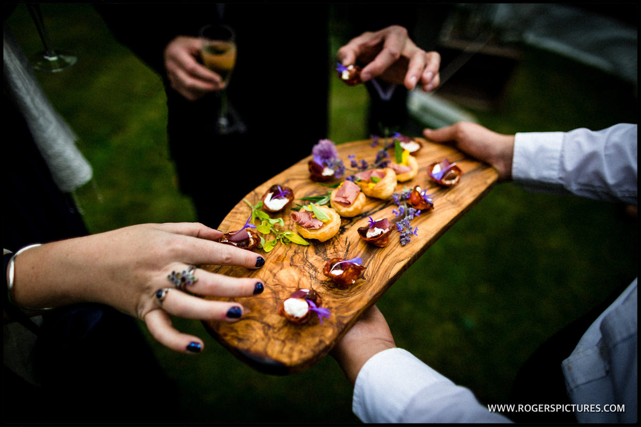 Detail of wedding canapés in Dorset