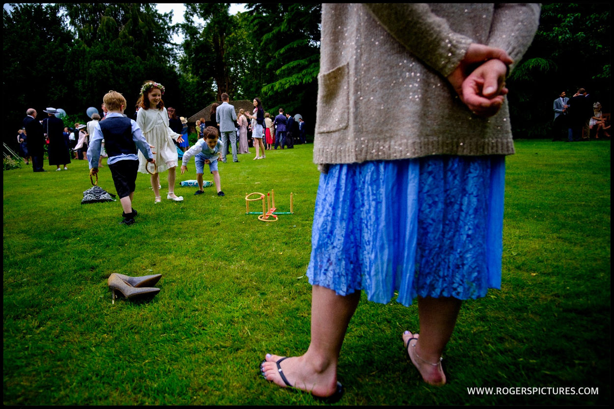 Children's games at marquee wedding