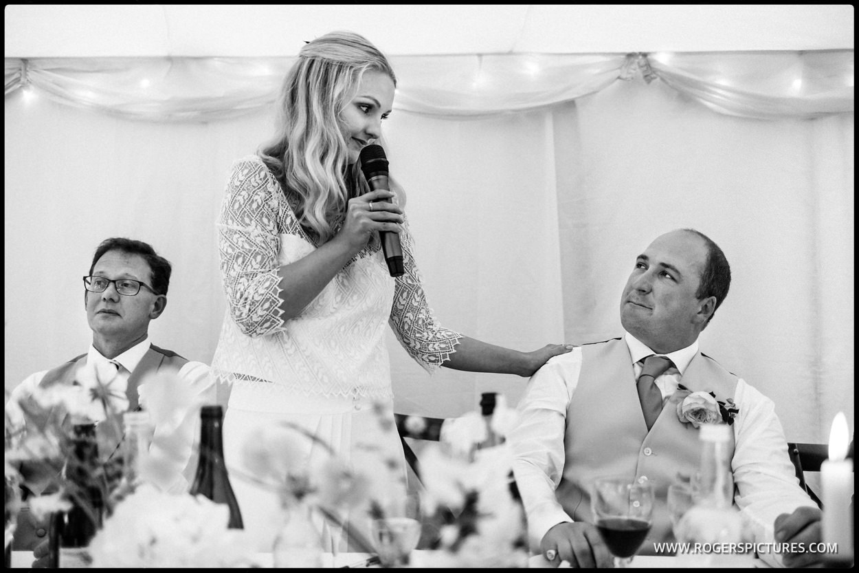 Bride speaks at a wedding