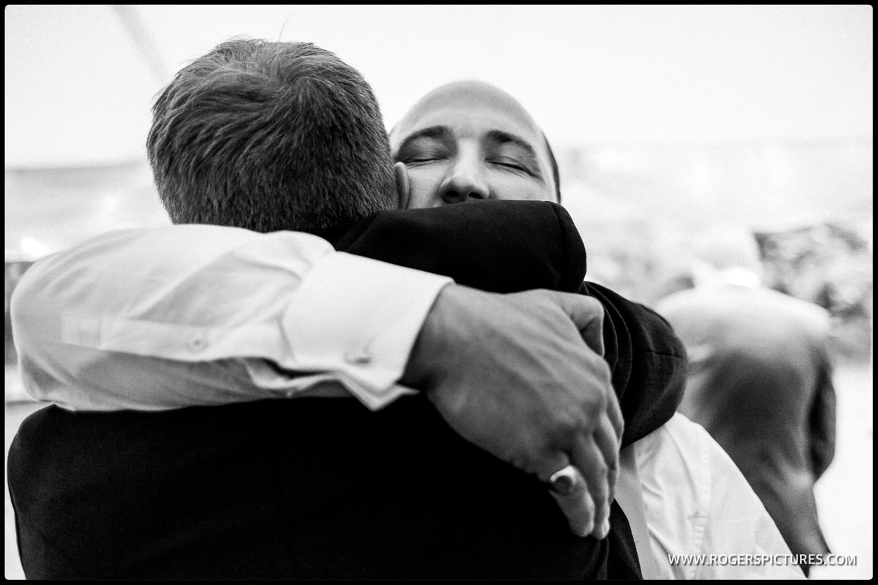 Hugs for the best man after his speech