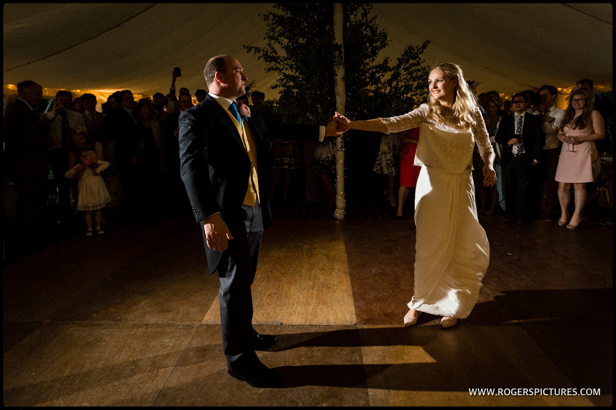 Bridegrooms first dance at a marquee wedding in Dorset
