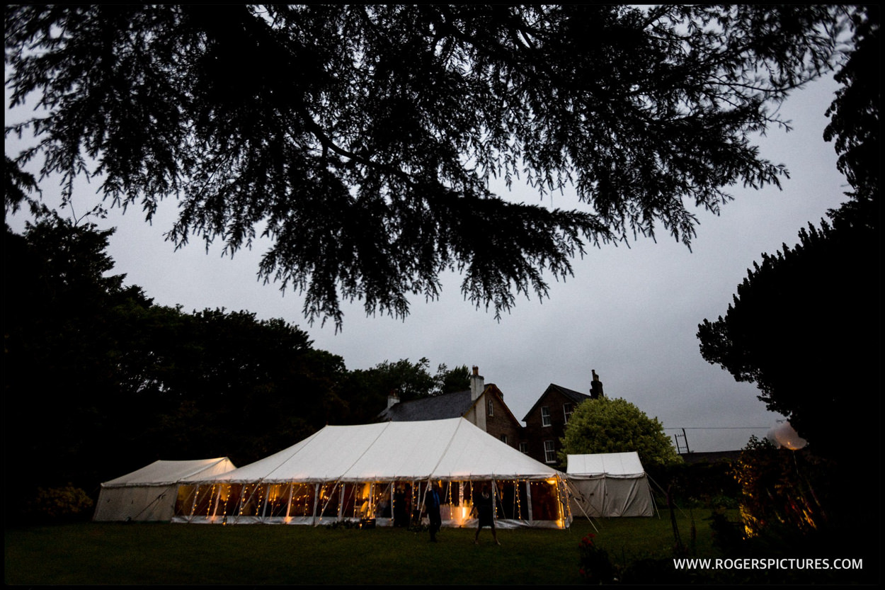Marquee wedding in Dorset at dusk