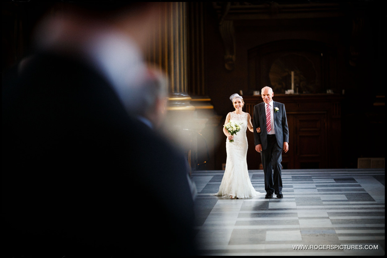 Bride arrives at The Painted Hall in Greenwich, London