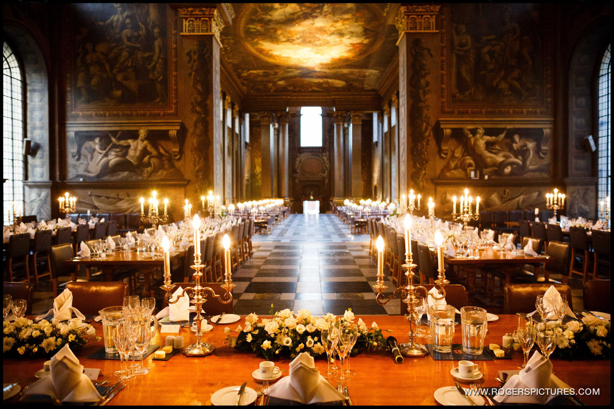 The stunning Painted Hall ready for a wedding breakfast