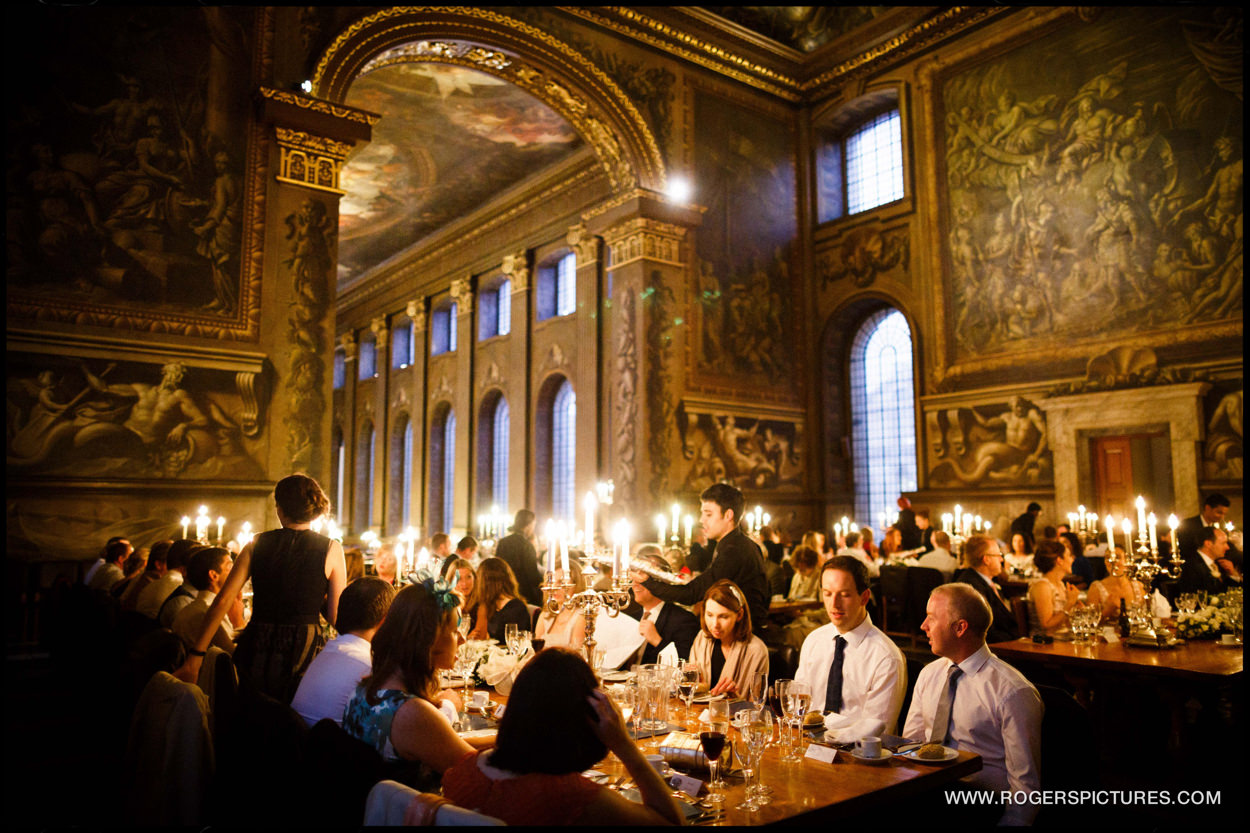 Wedding breakfast at the Painted Hall at the Old Royal Naval College in Greenwich