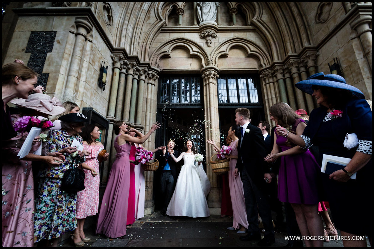 Confetti at Southwark Cathedral wedding