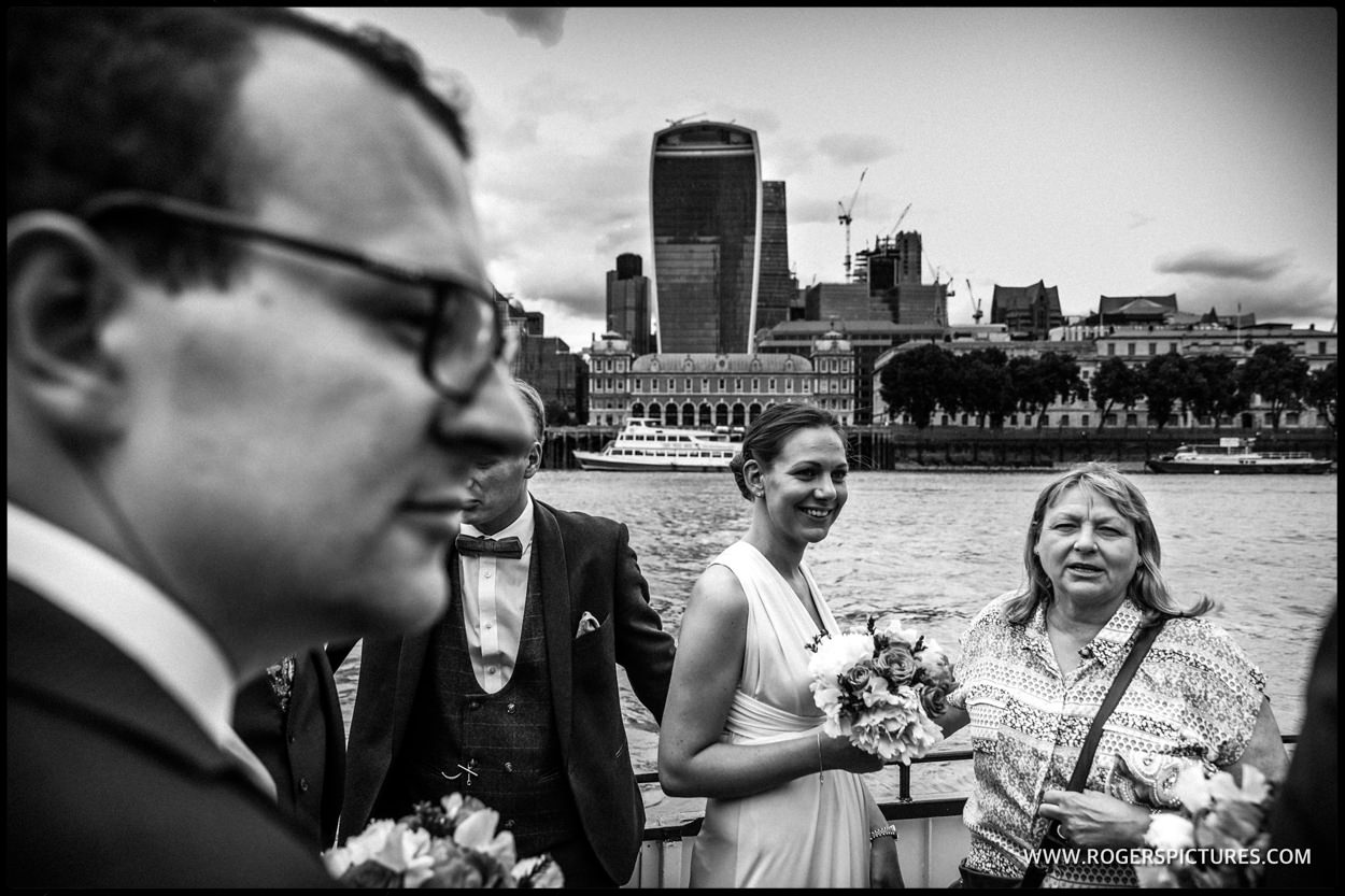Wedding guests on a boat on the river Thames