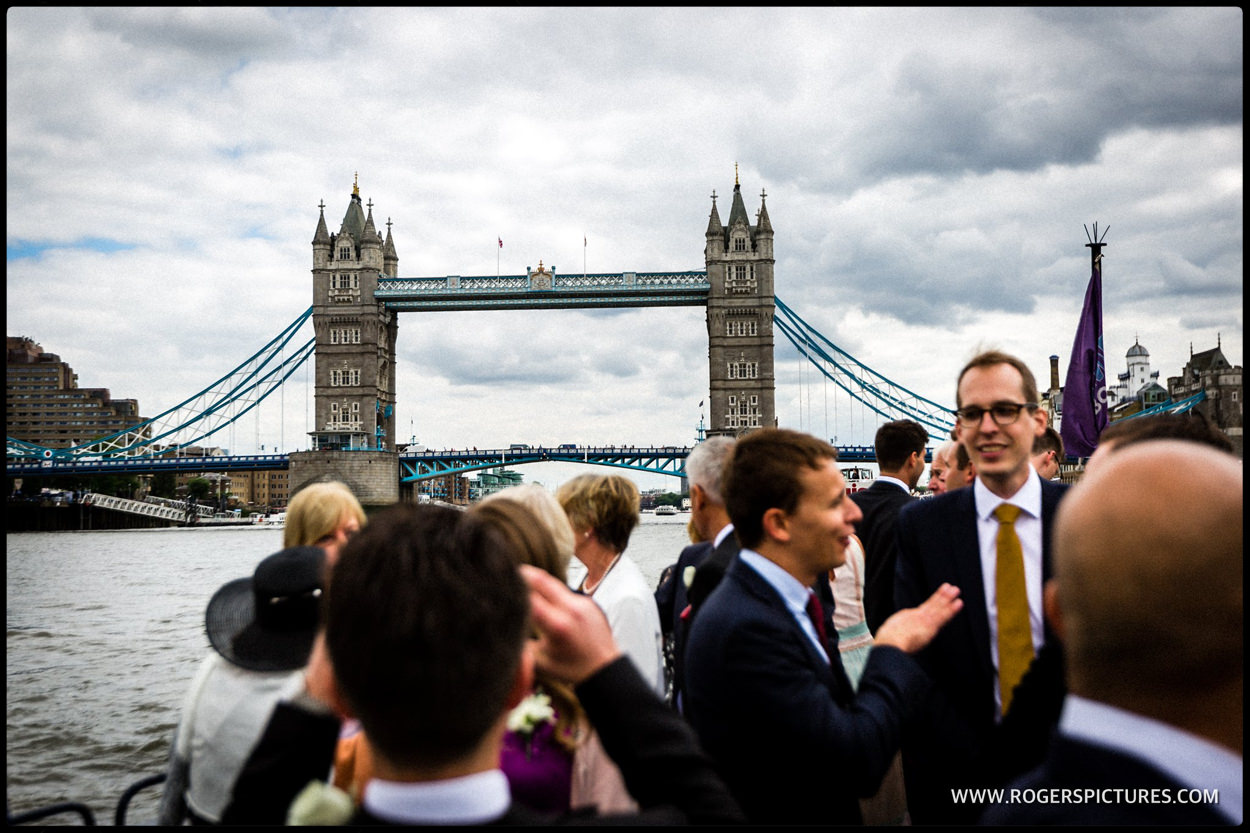 Tower Bridge with wedding guests