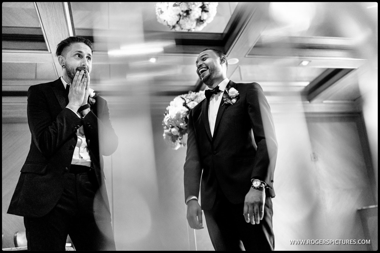 Groom and best man at Connaught Hotel wedding