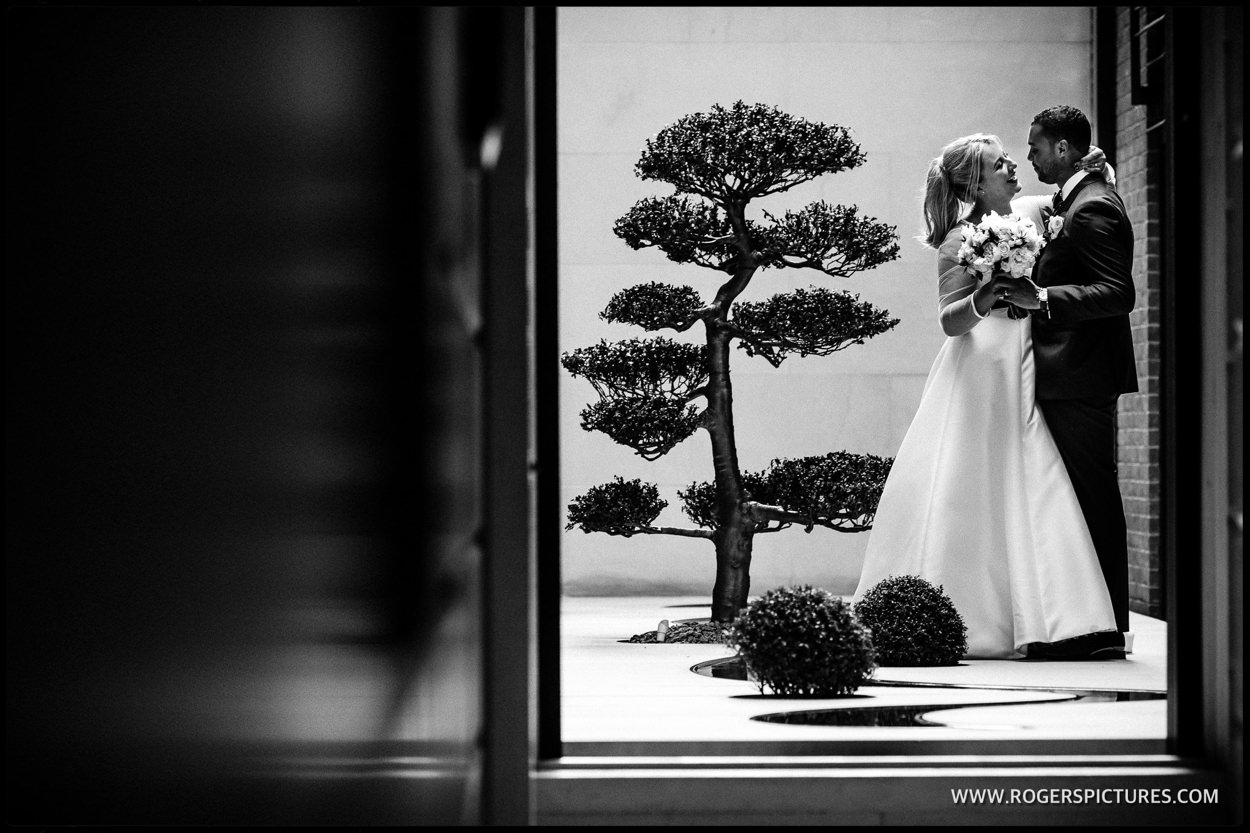 Couple portrait at Connaught Hotel wedding in London