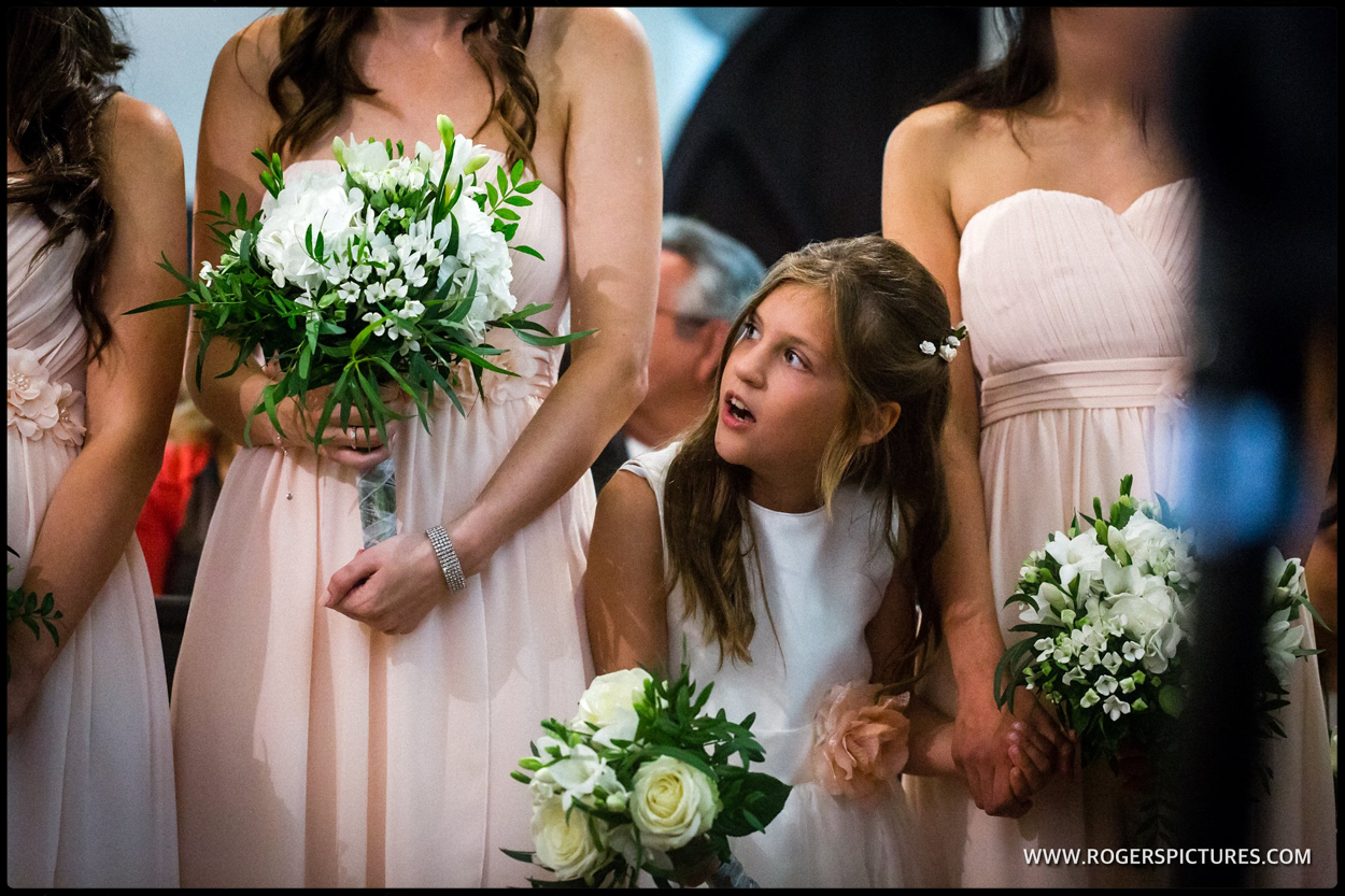 Bridesmaids and lower girl at a North London Greek wedding