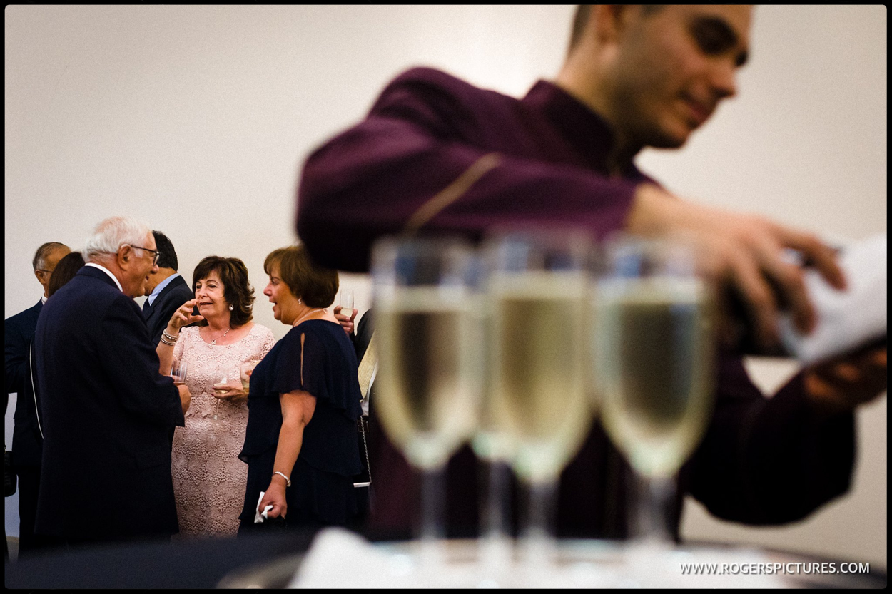 Champagne at a wedding reception in Bedfordshire