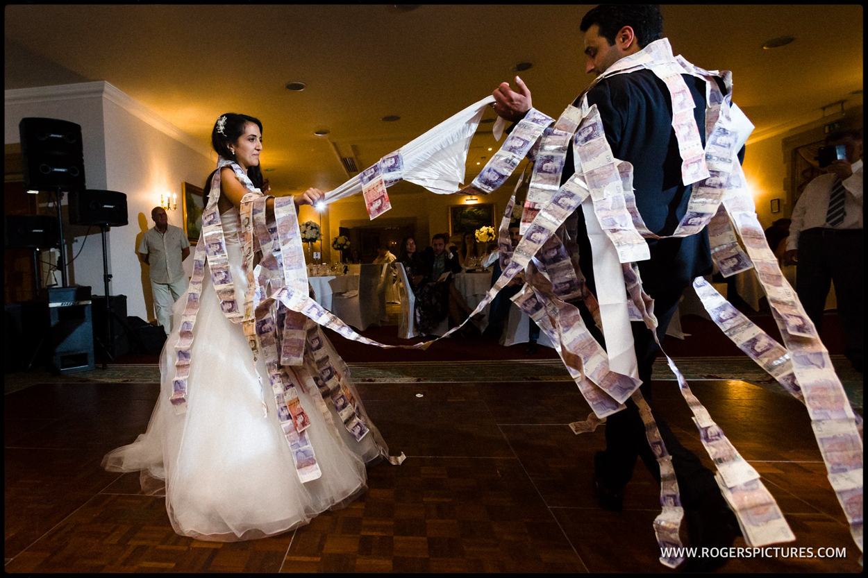 Greek Cypriot wedding money dance at Luton Hoo