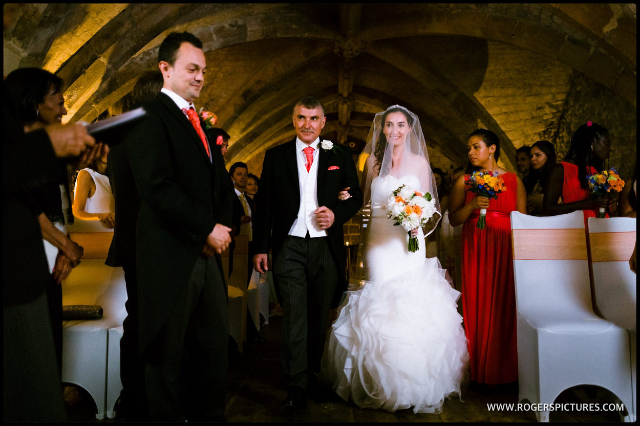 Father walks bride down the aisle at the George Vaults
