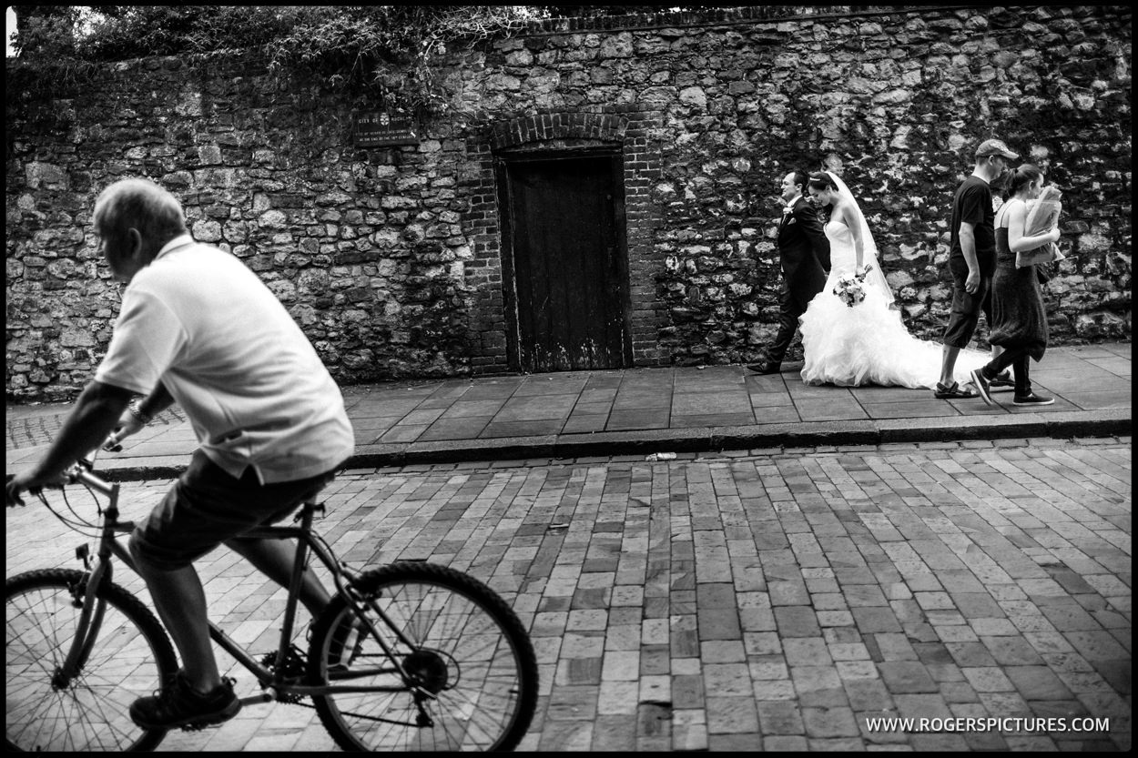 Bride and groom wedding photojournalism in Kent