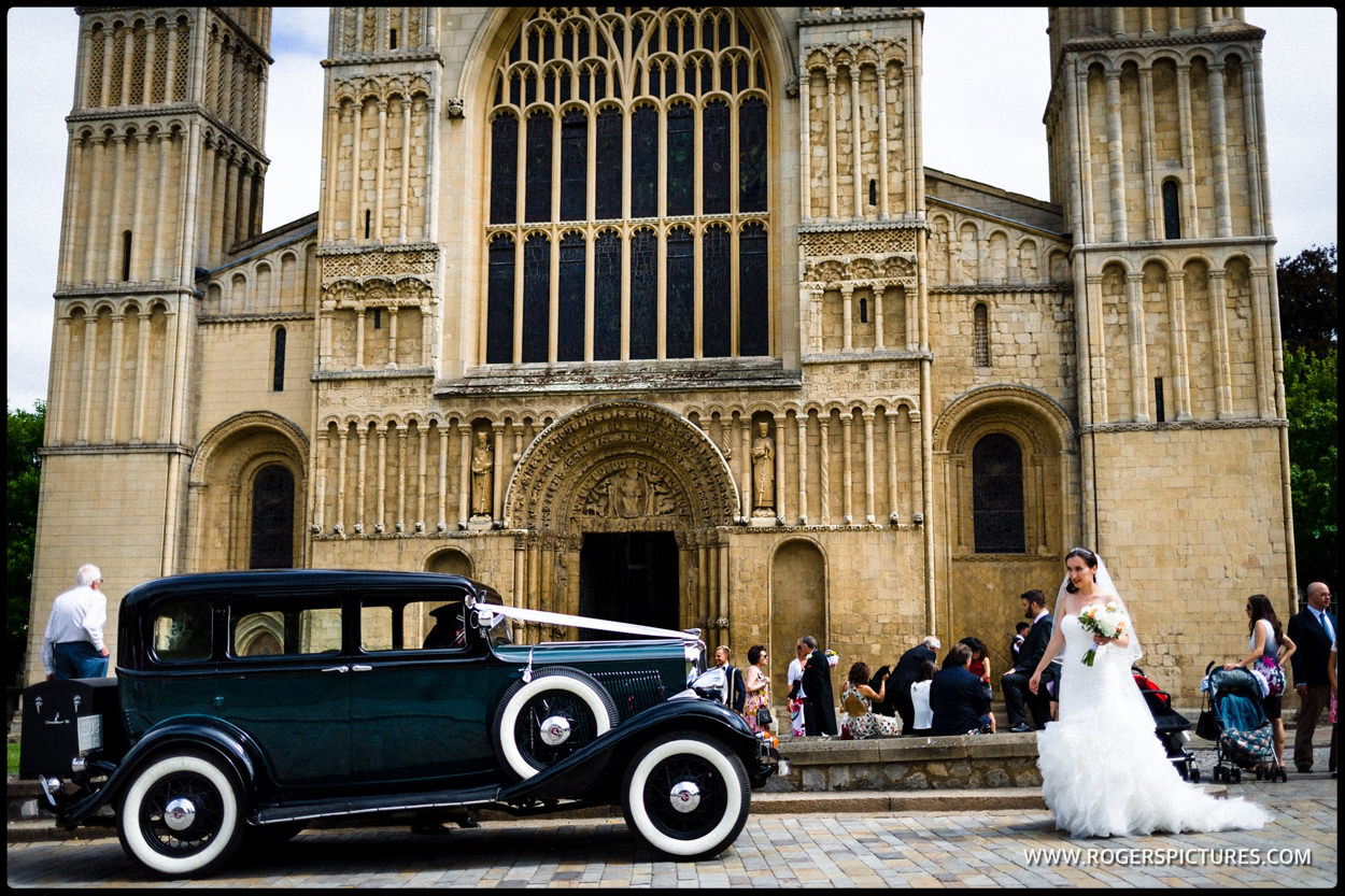 Wedding car outside Rochester Cathedral