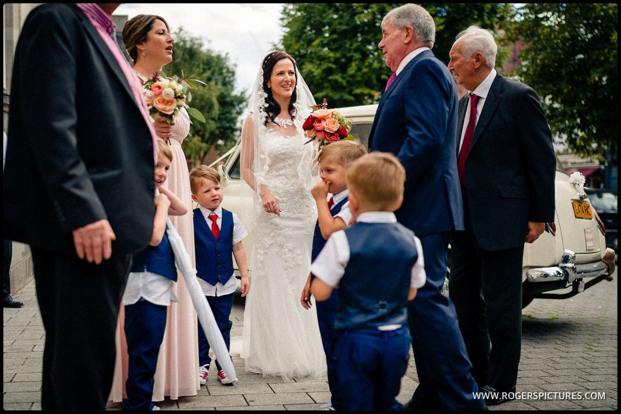 Wedding arrival at Islington Town Hall
