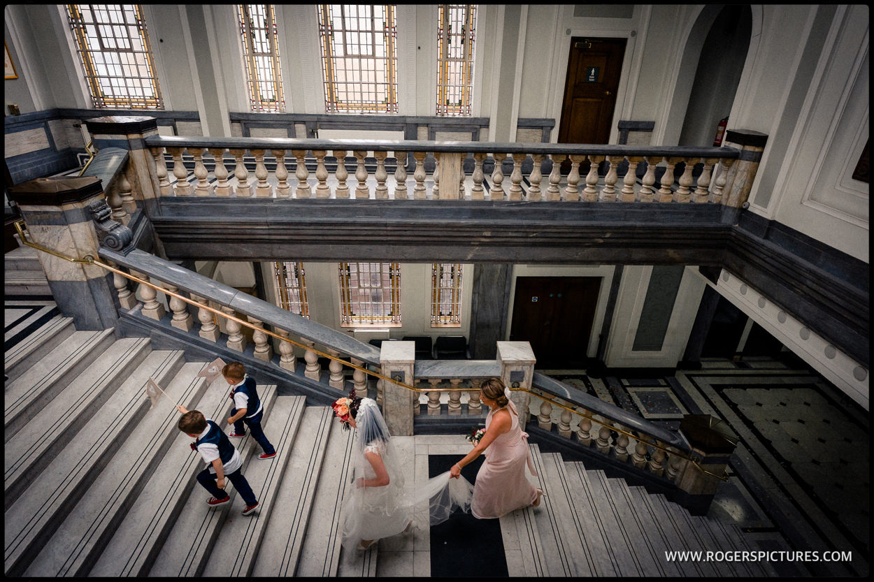 Documentary photography at a wedding in Islington Town Hall