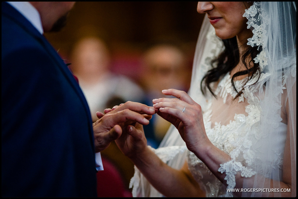 Wedding ring exchange at Islington Town Hall
