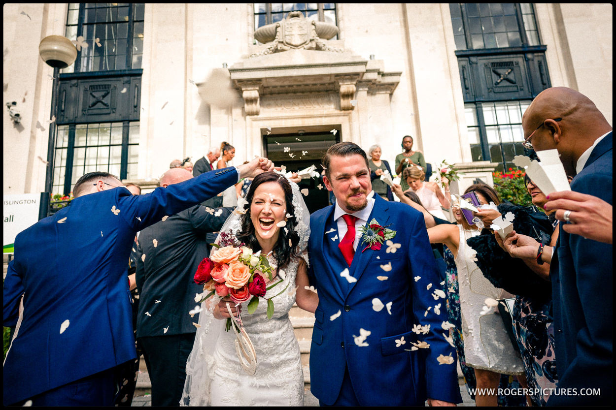 Bride and groom confetti at Islington Town Hall