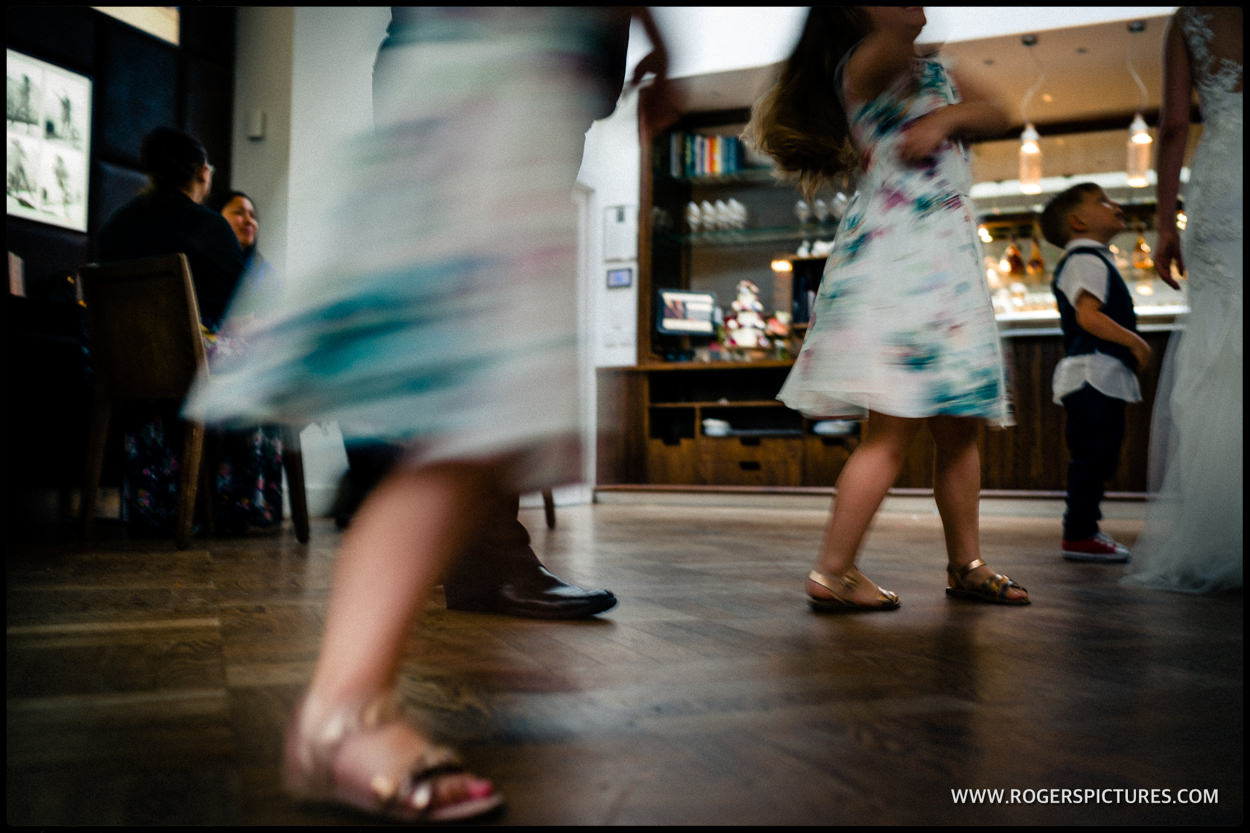 Children dancing during a wedding reception at Fredericks in Islington