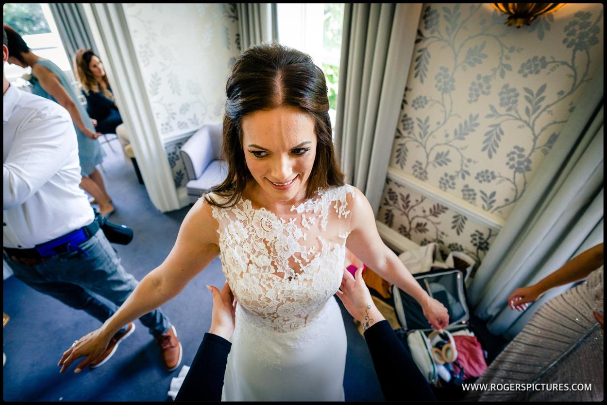 Bride getting ready at Morden Hall wedding