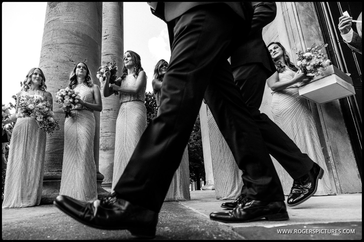 Bridesmaids at St Anne's church in Wandsworth