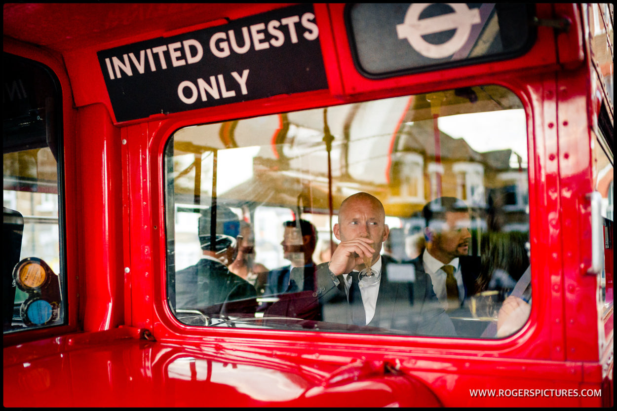 Wedding guest in a wedding bus in Wandsworth