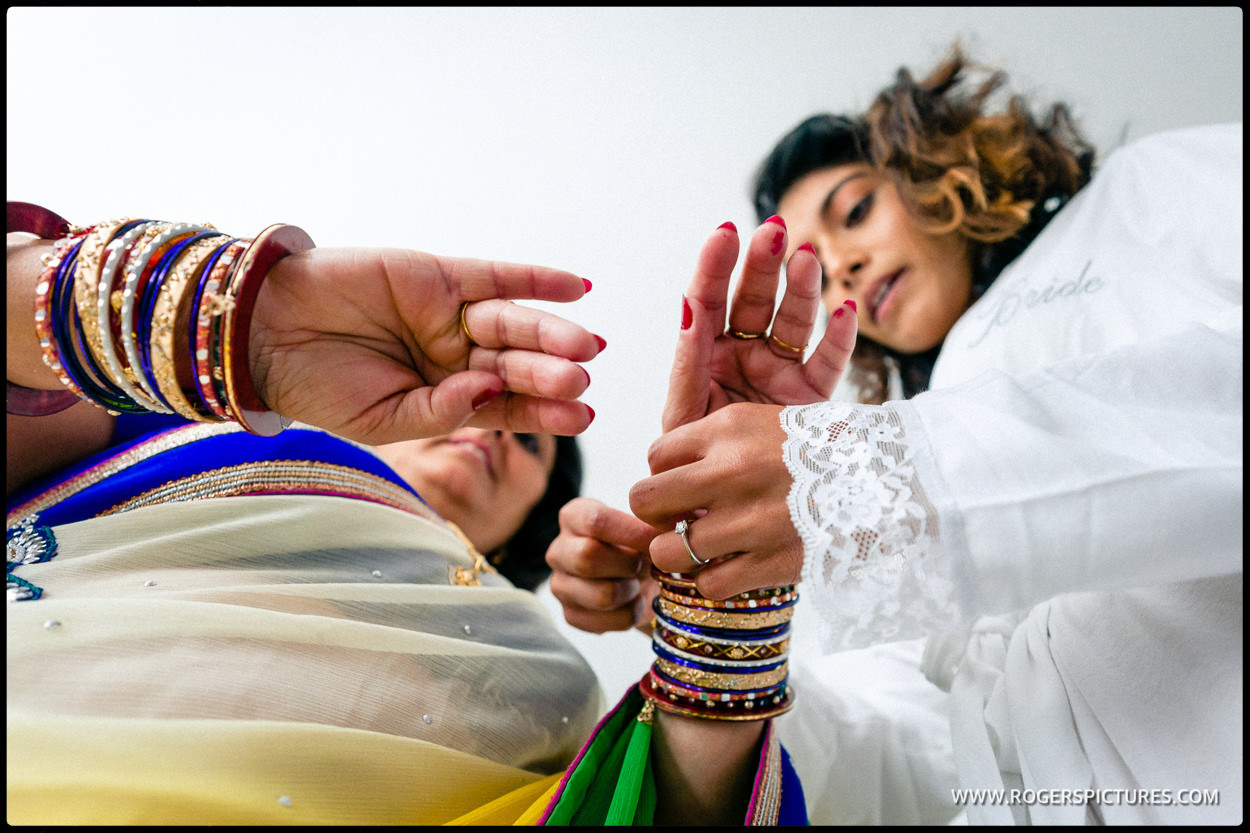 Indian Mother and Bride prepare for Hertfordshire wedding