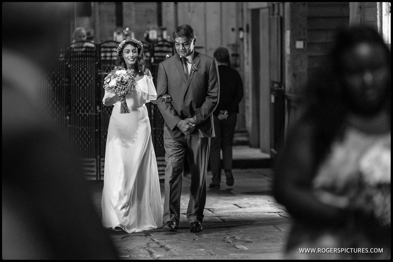 Little Wymondley barn wedding ion black and white