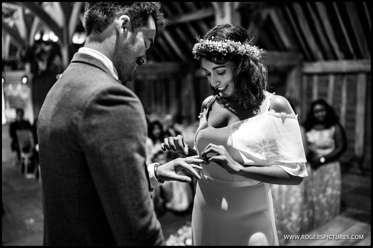 Barn wedding ceremony in Hitchin