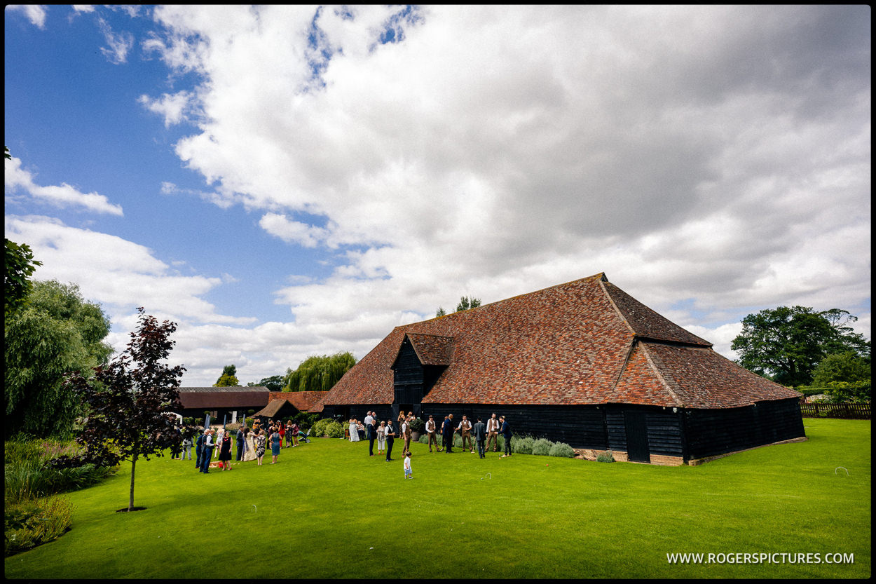 16th Century wooden barn building during a wedding