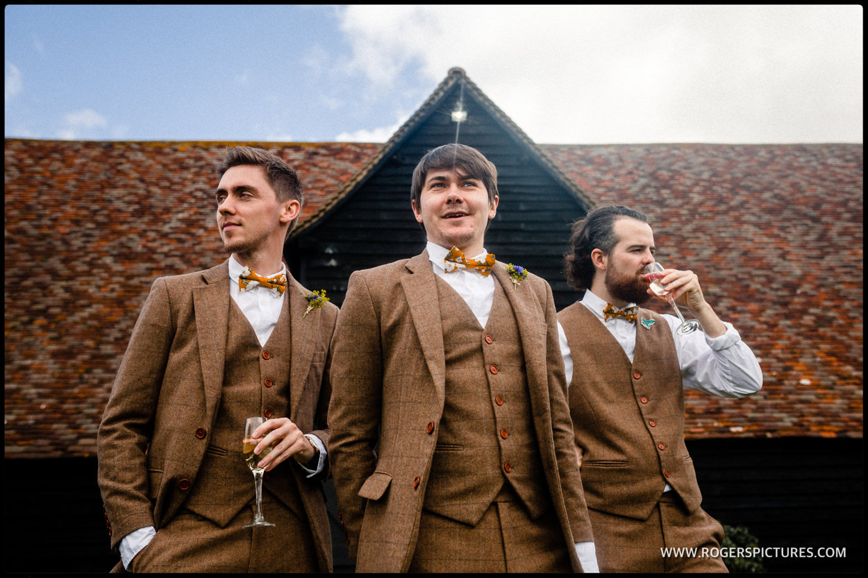 Groomsmen in tweed for a Hertfordshire wedding