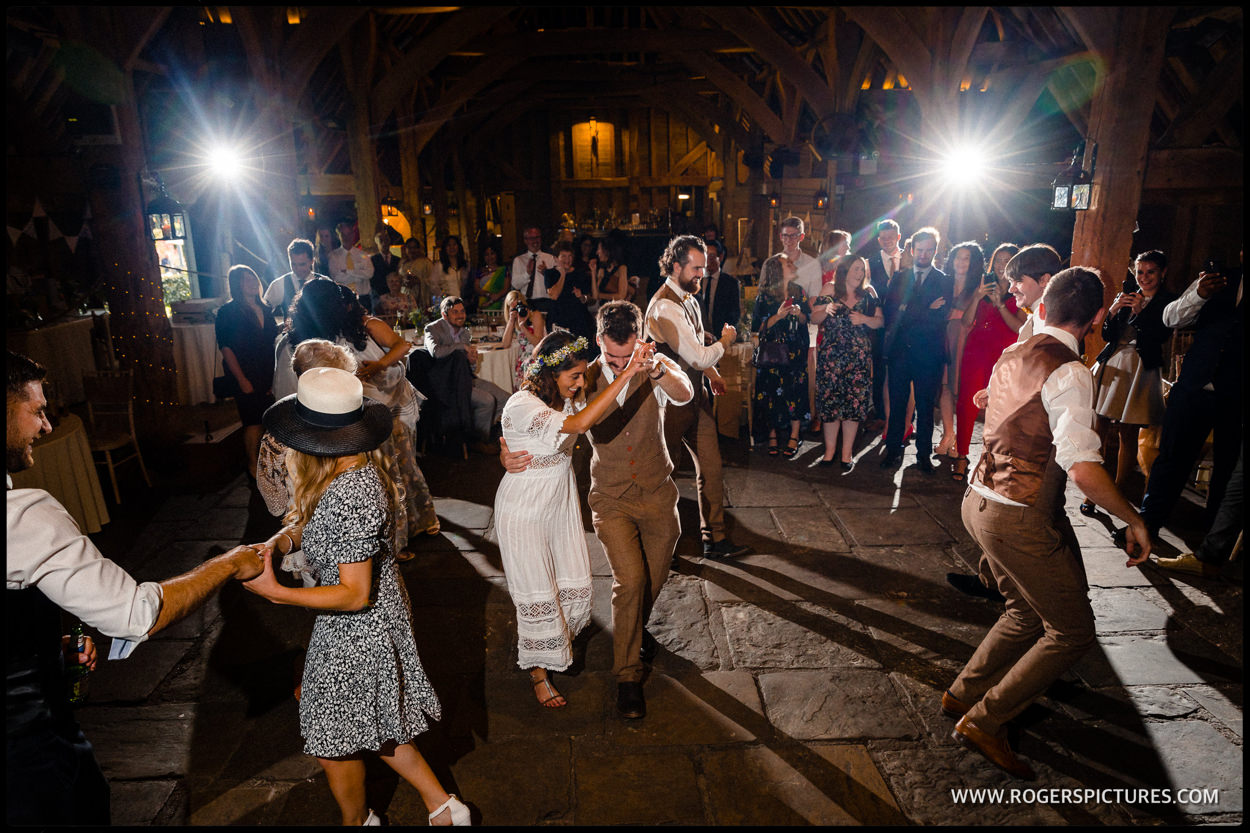 Priory Barn wedding party dancing