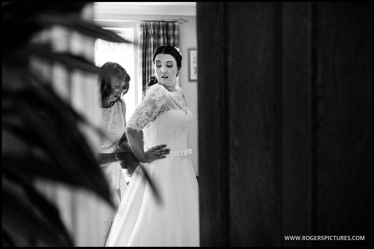 Surrey bride in her wedding dress