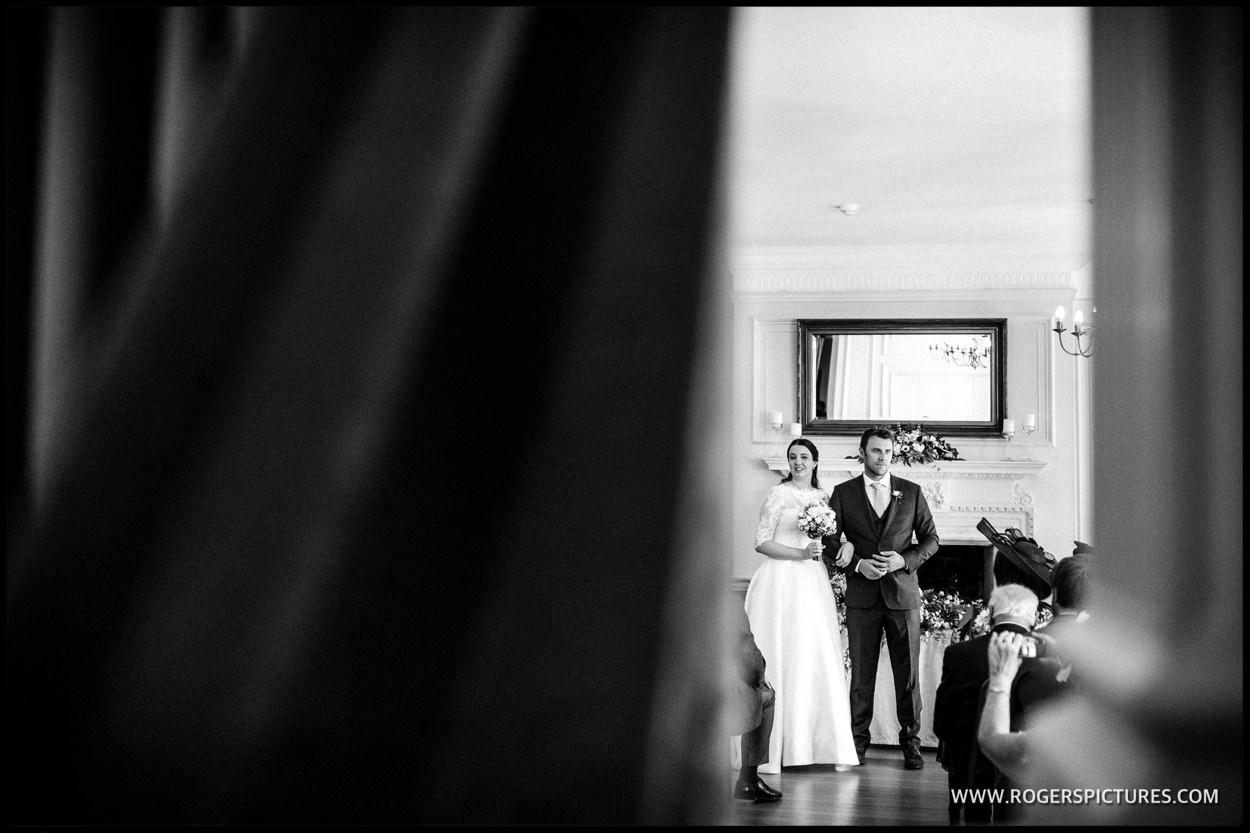 Documentary wedding photo of newly weds after ceremony