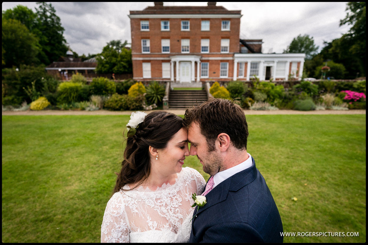 Portrait of bride and groom in East Grinstead