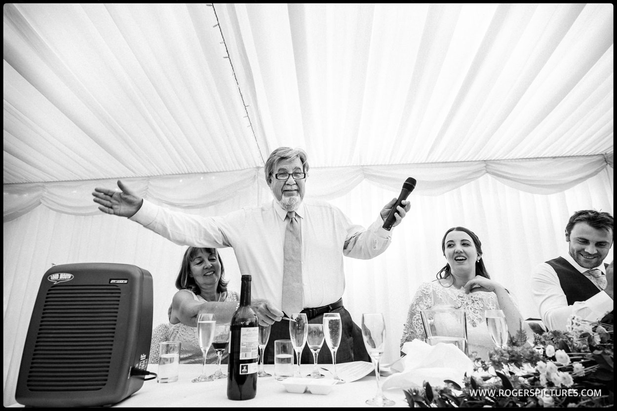 Speeches at a marquee wedding