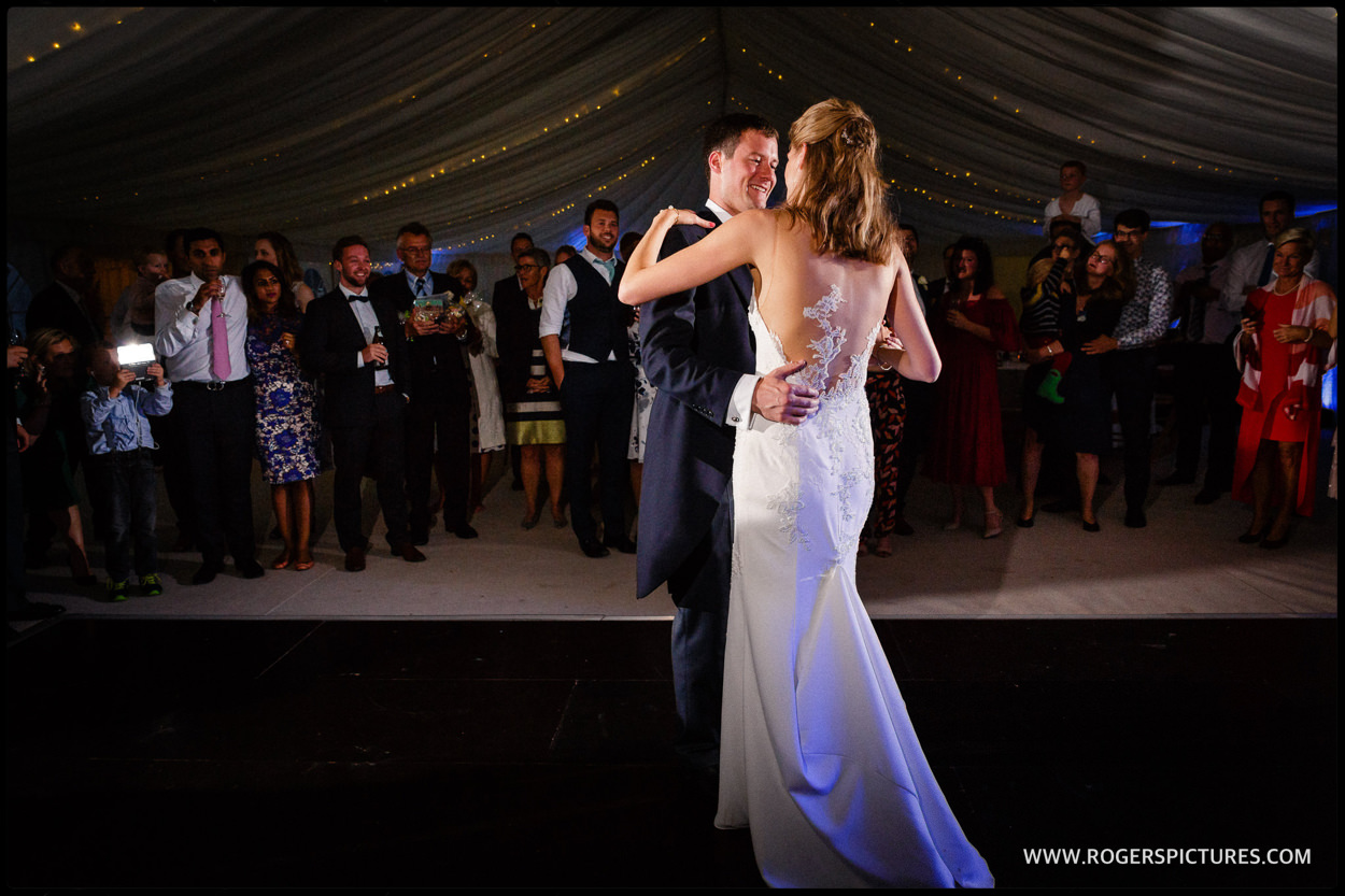 Marquee first dance at a wedding in Bath