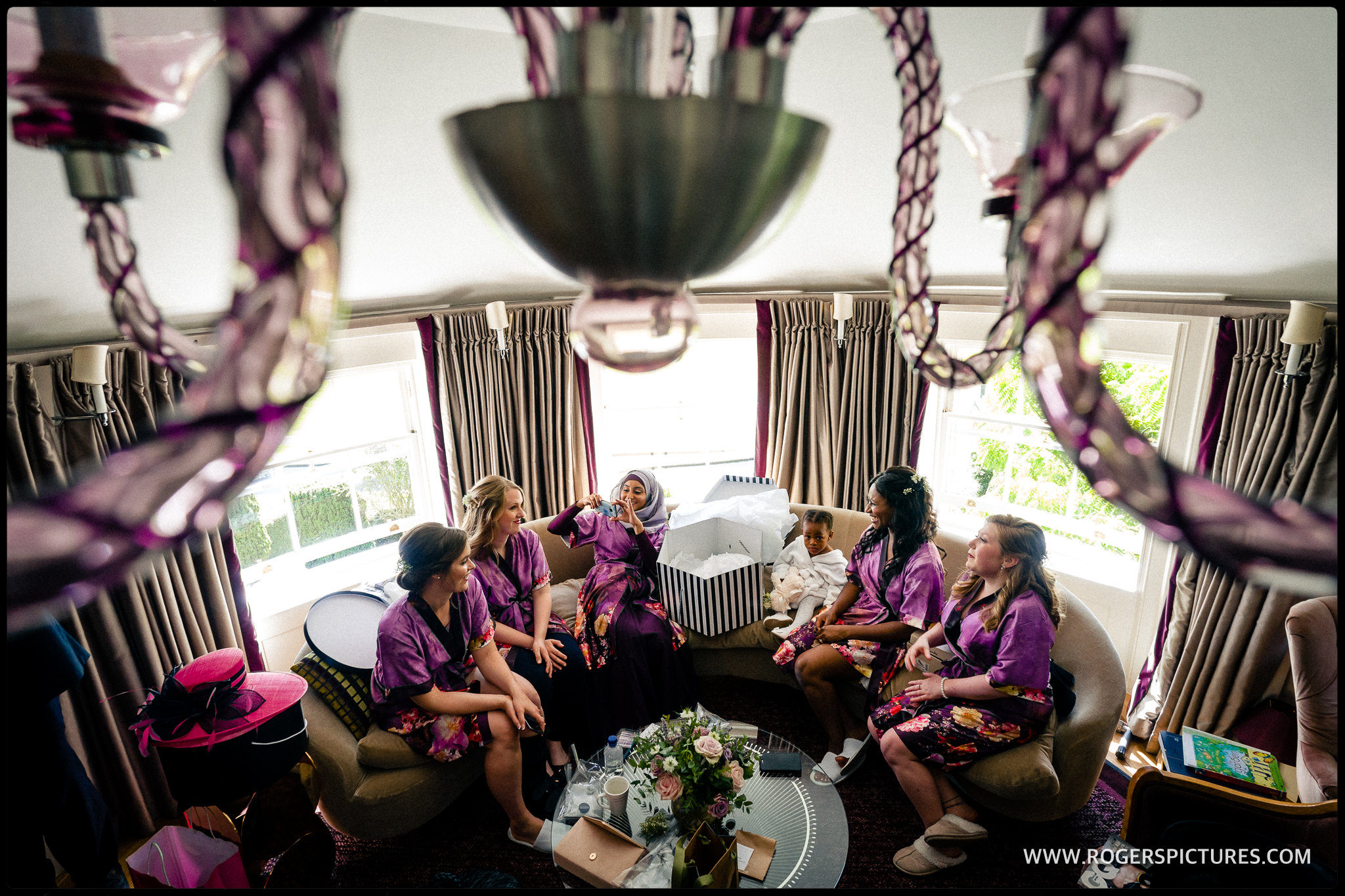 Bridesmaids in dressing gowns