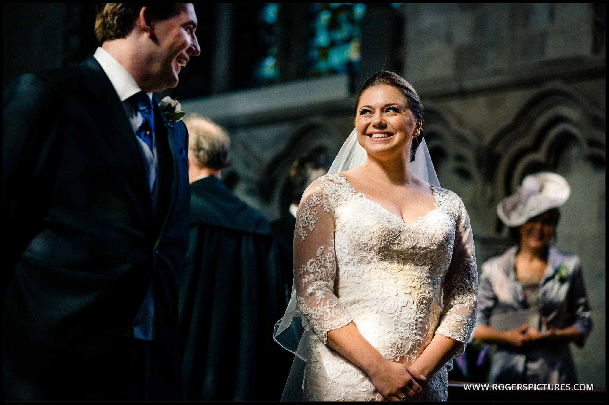Bride and groom in the Lady Chapel at St Albans Abbey
